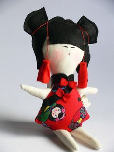 Chinese MINI DOLL - child friendly cotton and felt kids Doll - handmade in Italy - via Etsy