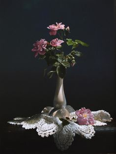 """Saatchi Online Artist Larry P Preston; Painting, """"WILD ROSES WITH A DOILY   16X12  O/P   (SOLD)"""" #art"""