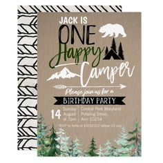 Shop Kraft Camper Birthday Forest Camping Party Invitation created by HappyPartyStudio. First Birthday Camping Theme, 1st Birthday Boy Themes, Baby Boy 1st Birthday Party, First Birthday Parties, First Birthdays, 1st Birthday Party Ideas For Boys, Farm Birthday, Birthday Cake, Camping Party Invitations