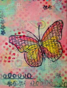 $43. Susan Walker art: Butterfly In the Mist mixed media art painting.