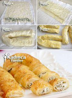 Baklavalık Yufkadan cheese sariyer pastry recipe, how to Bosnian Recipes, Armenian Recipes, Turkish Recipes, Crepes, Puff Pastry Recipes, Breakfast Items, World Recipes, I Foods, Food Videos
