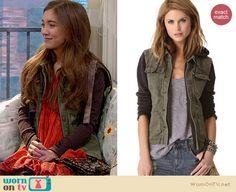 Riley's green hooded jacket on Girl Meets World.  Outfit Details: http://wornontv.net/34222/ #GirlMeetsWorld