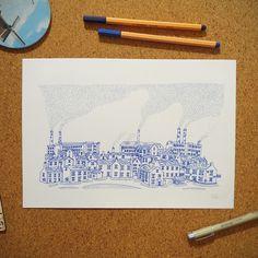 """Ilustração """"Fog Industrial"""" da coleção de ilustrações """"Cidades Azuis"""" por Gabriel Dyonisio."""