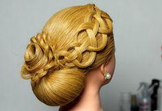 Wedding prom updo, hairstyles for long hair. Вечерняя прическа. Плетение косичек. Роза из волос.