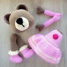 Мишка крючком мастер-класс Crochet Bear, Crochet Animals, Crochet Toys, Winter Hats, Teddy Bear, Sewing, Knitting, Ideas, Koalas