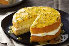 Passionfruit sponge with chantilly cream. Make an ordinary sponge pop by smothering it in sunny passionfruit icing Food Cakes, Cupcake Cakes, Fruit Cakes, Cupcakes, Cake Recipes, Dessert Recipes, Desserts, Baking Recipes, Nutella