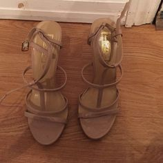 Nude strappy heels Nude strappy heels. Adjustable strap. Fit true to size. Great condition. Wore once ASOS Shoes Heels