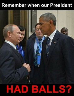 """Another bald-faced lie from trump:  he just said at his little """"campaign rally"""" in PA """"Putin loves Obama"""".  Trump is so ignorant. And his supporters are even more ignorant because they believe all the lies he tells.   Look at this picture and tell me these two men like each other."""