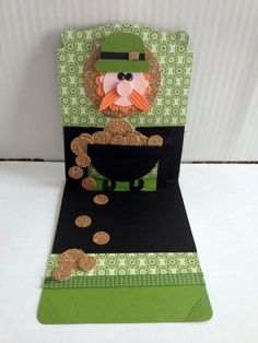 Pop Up Card Open - St. Patrick's Day  This card was made by Ginger Toivonen