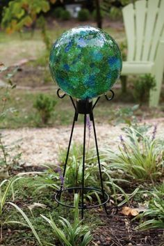 For yourself or as a gift 10 quot round this green mosaic gazing ball