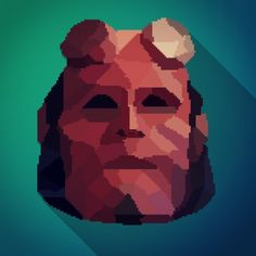 Designed a #lowpoly #pixelart #hellboy #mrbray #darkhorsecomics #mikemignola #bprd #design #color #colorful #graphic #graphicdesign #popart #artoftheday #film #animation #instaart #vector