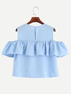 Shop Blue Open Shoulder Ruffle Top at ROMWE, discover more fashion styles online. Little Miss Dress, Little Girl Dresses, Sew Off Shoulder Top, Shoulder Tops, Cold Shoulder, Girls Fashion Clothes, Fashion Outfits, Blue Short Sleeve Tops, Trendy Tops