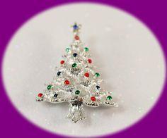 Vintage Christmas Tree Brooch Silver Tone by IRENESVINTAGEBLING