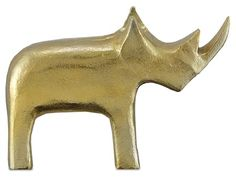 Currey and Company Tall Kano Aluminum Rhino Statue - Gold Modern Sculpture, Abstract Sculpture, Sculpture Art, Metal Figurines, Black Animals, Black Decor, Gold Material, It Cast, Statue