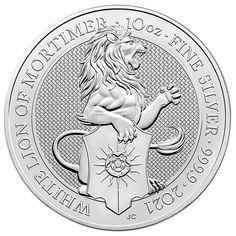 British Royal Mint Queen's Beast; White Lion - 10 Oz Silver Coin .9999 Pure Bullion Coins, Silver Bullion, Us Silver Coins, Mint Coins, Mint Gold, British Royals, Great Britain, Precious Metals, Beast