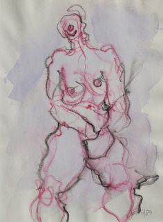 original LABEDZKI early work drawing FIGURE #2 8x11 inches mixed media on paper | eBay