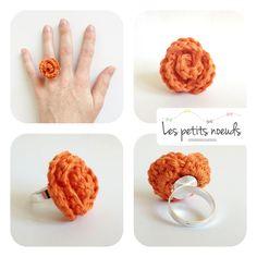 Bague fleur rose au crochet :   Cette bague dont la rose est réalisée au crochet, offre originalité, féminité et gaieté ! Plusieurs couleurs dispo.