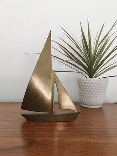 BRASS SAILBOAT FIGURINE - Vintage Condition - Can be polished to a nice shine! Vintage Nautical Decor, Sailboat, Minimalist, Canning, Living Room, Creative, Florida Keys, Motors, Beautiful