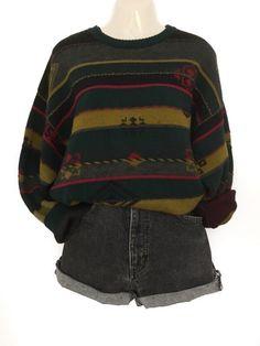 My True Vintage Pattern Knitted Pullover Sweater Oversize Urban Street Style Cozy . - My True Vintage Pattern Knit Pullover Sweater Oversize Urban Street Style Cozy Winter from true vin - Retro Outfits, Grunge Outfits, Vintage Outfits, Casual Outfits, Fashion Outfits, Girl Outfits, Urban Street Style, Knitting Pullover, Mode Streetwear