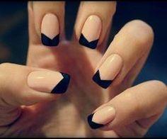 manicura francesa negra-beige