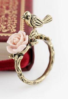 Gold Bird Flower Ring