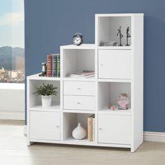 1PerfectChoice Asymmetrical Reversible Cube Storage Compartment Bookshelf Bookcase Cabinet NEW Color White