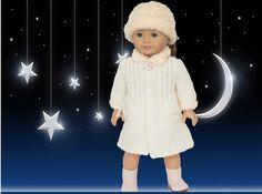 "American Girl Doll Coat & Hat Knitting Pattern - Winter Wonderland Accessories for 18"" Dolls - Medium Skill Level - Instant Download"