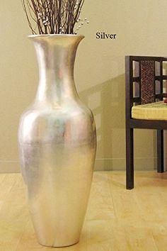 GreenFloralCrafts In Bamboo Cylinder Floor Vase Lacquer - Cylinder floor vase silver