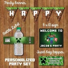 DIY Minecraft Birthday Party Set - You Print on Etsy, $9.99