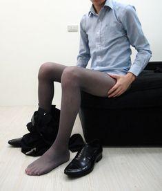 ready to work Men In Stockings, Nylon Stockings, Nylons, Mens Leotard, Men Wearing Skirts, Sheer Socks, Mens Tights, Mens Attire, Comfy Pants