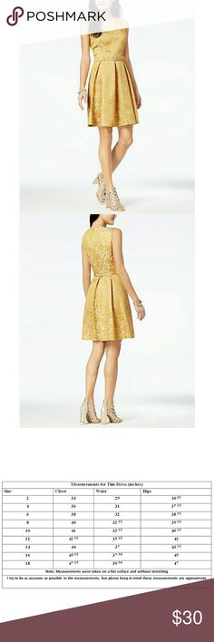 Nine West Belted Jacquard Dress NWT **PRICE FIRM** A rhinestone-bedecked belt adds stunning sparkle to a Nine West jacquard dress that shines at parties in a vintage-inspired print.     *** PRICE IS FIRM ***     Color is Dijon (Dark Mustard Yellow)  Matching belt with rhinestone buckle  Ornate jacquard fabric  Round neckline  Sleeveless  Lined  Pleated skirt  Concealed back zipper with hook-and-eye closure  Approximately 38 inches long  Shell, lining: polyester. Dry clean     *** PRICE IS…