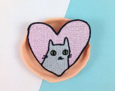 Pizza cat embroidered patch Iron on patch sew by ilikeCATSshop
