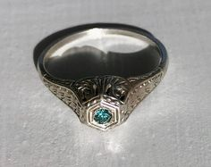 Edwardian Antique Blue Diamond Sterling Silver Filigree Engagement Promise Ring Size 5.5 by AdornedInHistory on Etsy