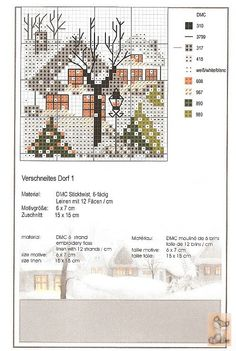 Snowy Village (Pg 2 of Cross Stitch House, Xmas Cross Stitch, Just Cross Stitch, Cross Stitch Needles, Cross Stitch Cards, Cross Stitch Samplers, Cross Stitching, Cross Stitch Embroidery, Cross Stitch Christmas Ornaments