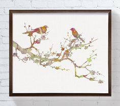 Love Birds On Branch Bird Art Bird Print Bird by MiaoMiaoDesign