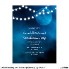 Shop birthday blue moon light strings invitation postcard created by Thunes. 21st Birthday Invitations, 90th Birthday Parties, Sweet 16 Birthday, Invites, Blue Moon Light, String Lights, 50th, Moonlight, Party Ideas