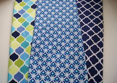 Baby Burp Cloths - Set of 2 Quilted Boutique Baby Burp Rags  - You Choose - Modern Fashion Green Blue Quatrefoil Peacock Blue &White by PurpleLadybugGifts on Etsy