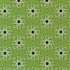 Green Atom Science Print. Quality 100% Cotton by CaboodleTextiles