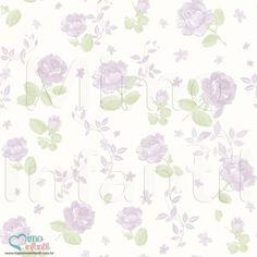 Papel de Paredes para decoração de quarto de bebê e infantil Bobinex Bambinos 3364, REF3364, flores, rosas, lilás, branco | SP, BH, MG, RJ, DF