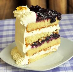 Lemon Blueberry Cream Cake - luscious layers of lemon butter cake, fresh blueberry compote and vanilla whipped cream. This is one dessert that is worth inventing an occasion for! Rock Recipes, Cake Recipes, Dessert Recipes, Nutella Recipes, Sweet Recipes, Dinner Recipes, Funnel Cakes, Homemade Butter, Homemade Cakes