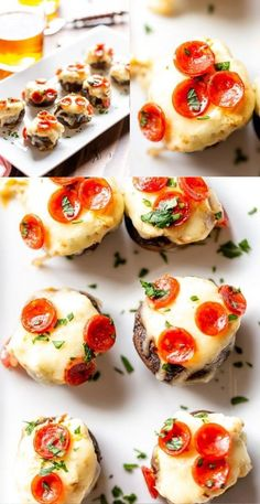 These Pizza Dip Stuffed Mushrooms are bite sized appetizers, perfect for game day.  These low carb, easy stuffed mushrooms have big pizza flavor. Best Appetizer Recipes, Yummy Appetizers, Snack Recipes, Party Appetizers, Pizza Recipes, Dinner Recipes, Dip Recipes, Yummy Recipes, Recipies