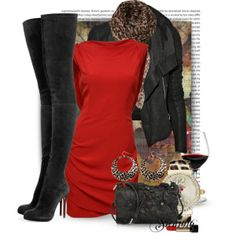 Red Dress and boots only.
