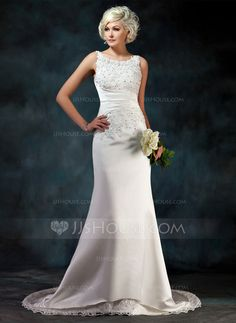 [NZ$ 286.69] A-Line/Princess Scoop Neck Court Train Satin Wedding Dress With Lace Beading Sequins
