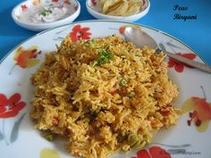 Peas Biryani is a recipe that I frequently make during the season when peas are available. Peas Biryani is very flavorful and can be prepared in a jiffy. M