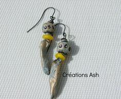 FREE SHIPPING WORLDWIDE - Primitive earrings handmade headpins Raggedrobyn beads (22.00 USD) by CreationsAsh - handmade - jewelry - jewellery - artisan - etsy