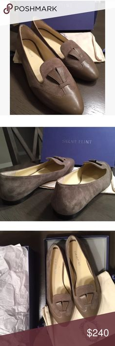 New! Sarah Flint Bennett Suede Shoes Loafers Never worn! Authentic Sarah Flint 'Bennett' flats in taupe color. Size 37. Material is suede and leather. Originally $495. Comes with box and dust bag. Sarah Flint Shoes Flats & Loafers