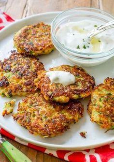 Sally's Baking Addiction Zucchini Fritters with Garlic Herb Yogurt Sauce Easy Corn Fritters, Zucchini Fritters, Vegetarian Recipes, Cooking Recipes, Healthy Recipes, Sallys Baking Addiction, Yogurt Sauce, Hungarian Recipes, Veggie Dishes