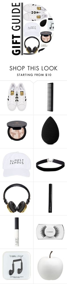 """""""holiday gift guide"""" by maevekaterina ❤ liked on Polyvore featuring adidas Originals, GHD, Anastasia Beverly Hills, beautyblender, Nasaseasons, Miss Selfridge, Bloc & Roc, Antonym, NARS Cosmetics and MAC Cosmetics"""