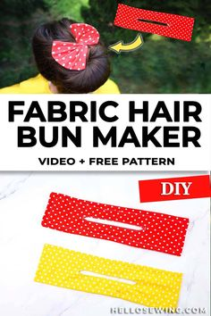 Scrap Fabric Projects, Sewing Projects For Beginners, Quilting Projects, Sewing Hacks, Sewing Tutorials, Sewing Patterns, Diy Hair Bun Maker, Barrettes, Hairbows