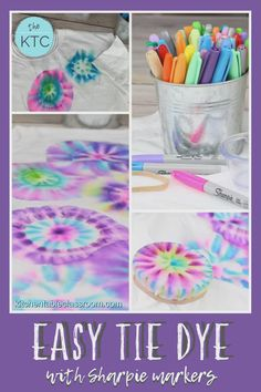 Easy Tie Dye for Kids with Sharpie Markers - Use Sharpie markers for this super easy tie dye technique perfect for kids. Tie Dye Sharpie, Sharpie Markers, Sharpie Crafts, Tie Dye With Sharpies, Sharpie T Shirts, Sharpie Projects, Kids Crafts, Diy Crafts For Adults, Projects For Kids